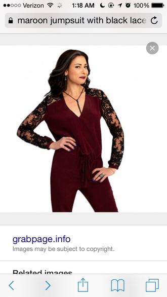 jumpsuit burgundy lace sleeves