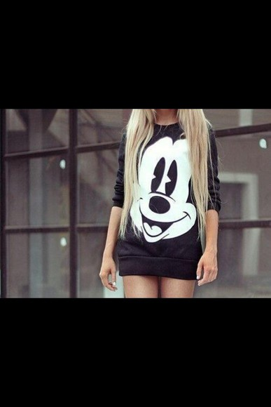 mickey mouse sweater black long sleeve shirt long sleeves black sweatshirt