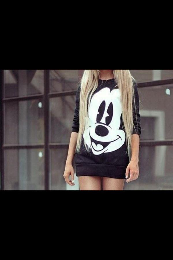 black long sleeve shirt mickey mouse long sleeves sweater black sweatshirt