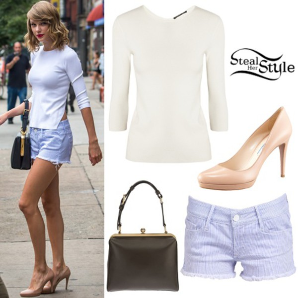 blouse t-shirt long sleeves denim shirt taylor swift nude heels