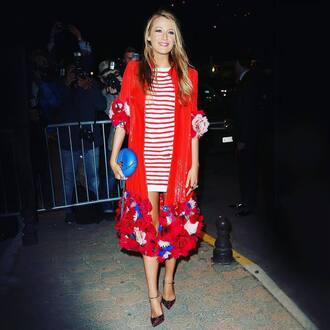 coat tumblr red coat floral coat floral dress stripes striped dress mini dress blake lively celebrity style celebrity high heels bag blue bag