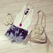 jewels,leather fringe bag,studded leather purse,ripped shorts,gold necklace,big necklace,statement necklace,bag