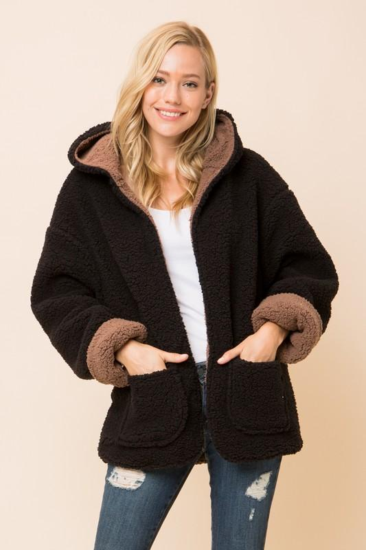 Black and Mocha Reversible Soft Sherpa Open Front Jacket Hoodie