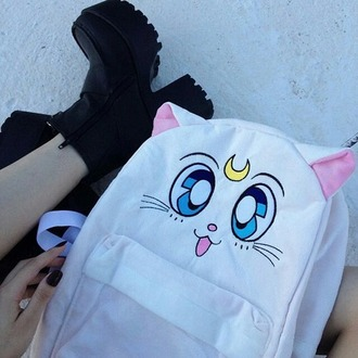 bag cats anime anime bag white white bag moon salor moon backpack bookbag black platform shoes platform heels
