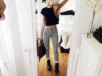 top jeans crop tops black and white checkered jeans checkered pants velvet crop top black combat boots grunge black purse black bag