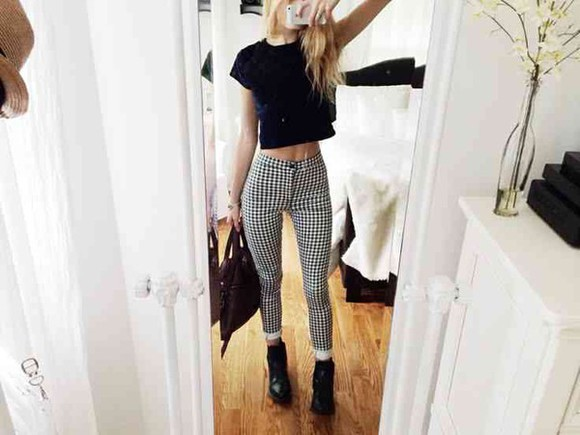 black bag jeans black and white black purse checkered jeans checkered pants velvet crop top crop tops black combat boots grunge grunge outfits grunge outfit