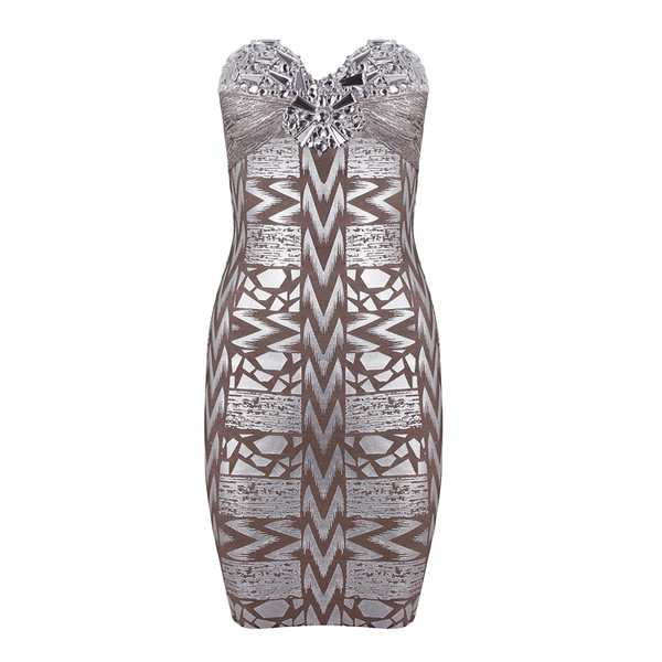 dress strapless beading silver foil bandage dress evening dress party dress bodycon dress