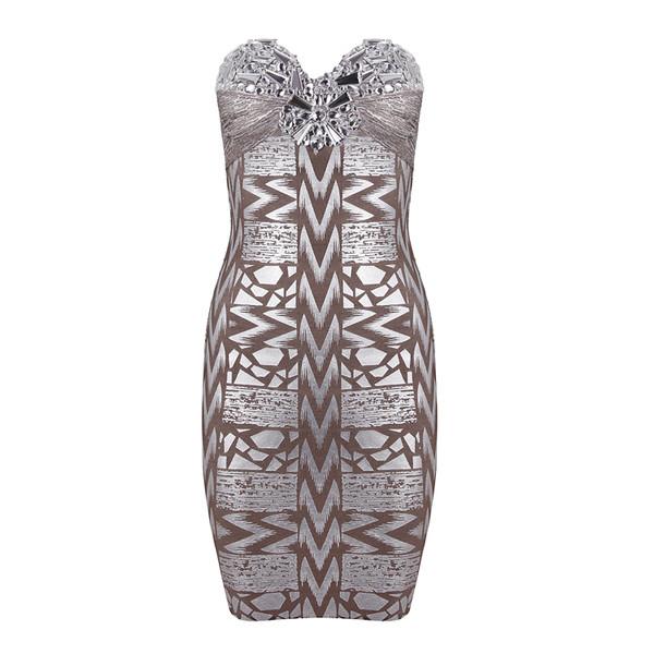 dress strapless beading silver foil bandage dress evening dress party dress bodycon dress