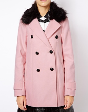 River Island | River Island Double Breasted Coat With Black Fur Collar at ASOS