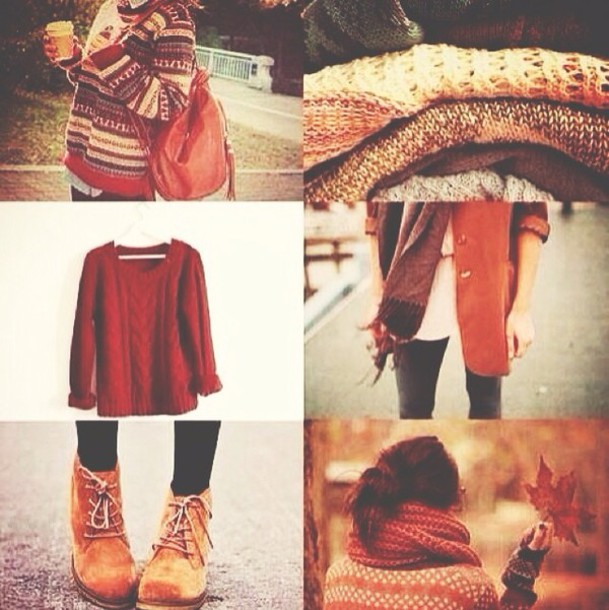 sweater fall outfits fall sweater fall outfits boots red coat shoes jeans cardigan bag