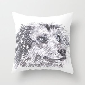 Dog sketch throw pillow by iarts