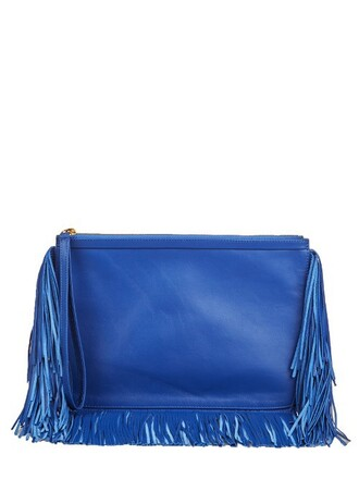 leather clutch clutch leather blue bag