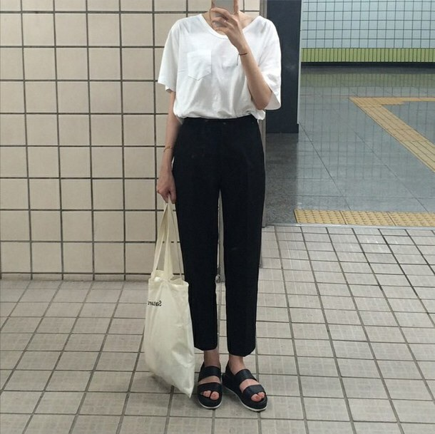 Pants summer fall outfits spring tumblr aesthetic aesthetic tumblr black black and white ...