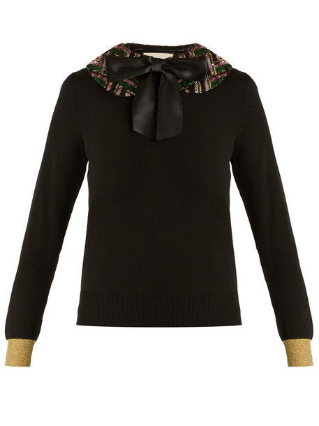 gucci sweater embellished knit black