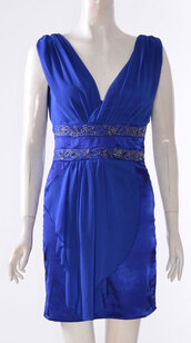 dress,womens sleeveless v neck/wrap over satin embellished short mini dress blue