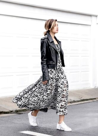 shoes leather jacket black and white print dress adidas shoes blogger