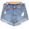 Blue ripped cuffed denim shorts - sheinside.com