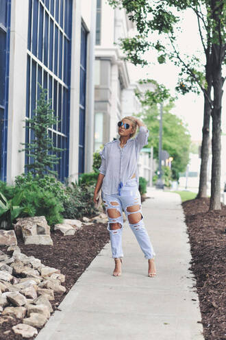 fashionably lo blogger blouse jeans shoes bag sunglasses mirrored sunglasses aviator sunglasses blue shirt shirt ripped jeans blue jeans sandals sandal heels high heel sandals nude sandals spring outfits
