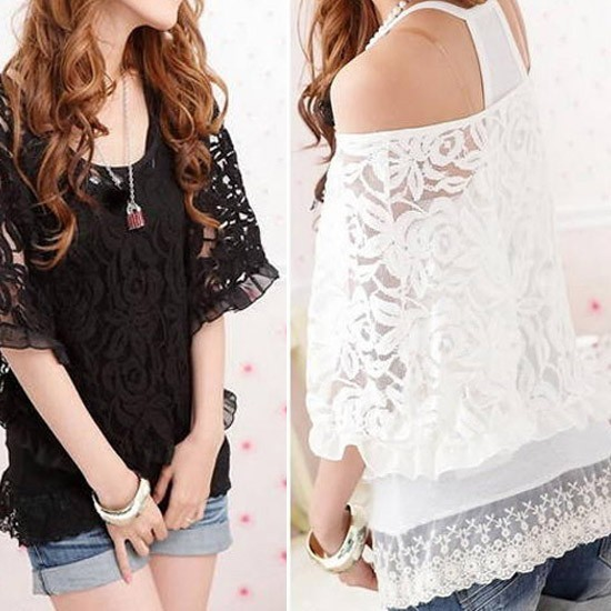 Aliexpress.com : Buy Two Pcs Lace Batwing T shirt Smock Twinset Lace Tops Vest Off Shoulder T shirt Black White S M L 1034 from Reliable lace t-shirt suppliers on Dola's Wardrobe