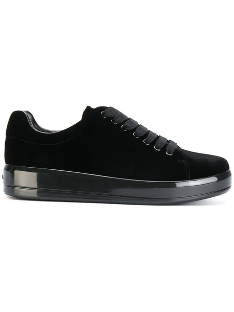 Prada women sneakers lace leather black velvet shoes