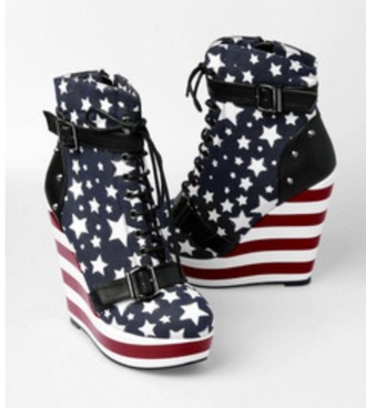 shoes pumps american flag wedges heels style blue white red stars