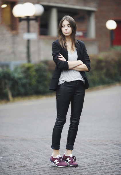 shoes white shirt black blazer black pants new balance sneakers blogger