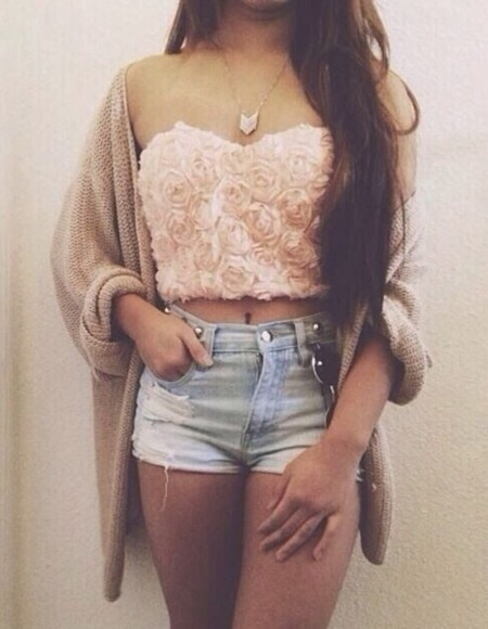 shorts denim summer light wash high-waisted shorts cute blouse rose top top strapless top high waisted denim oversized cardigan tan light pink pink roses rose flower cute summer outfits gold necklace pretty girl coat