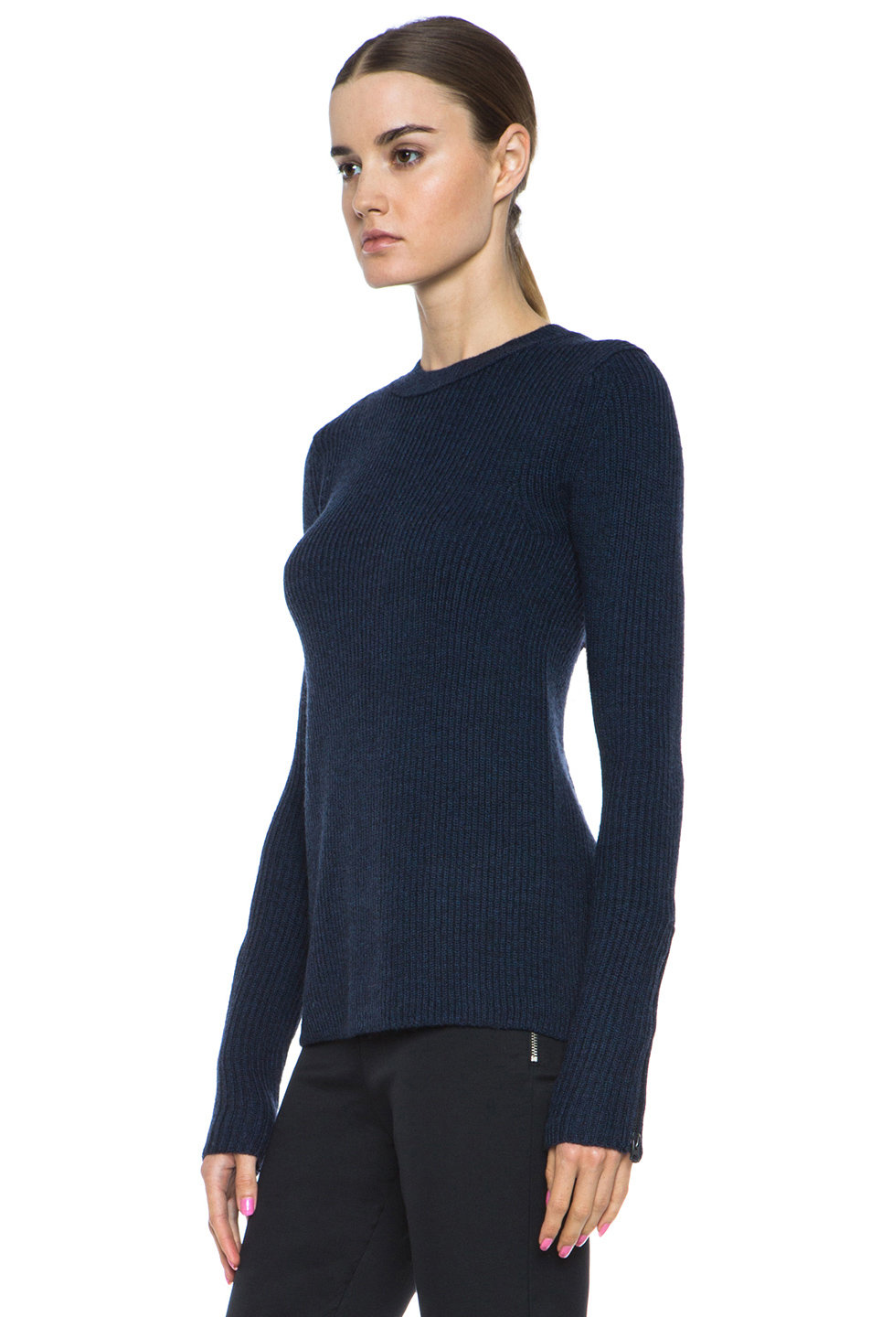 Acne Studios|Lala Merino Wool Sweater in Navy Melange