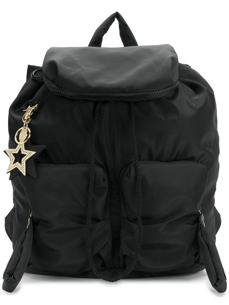 women embellished backpack cotton black bag