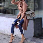 coat,tumblr,dusty pink,pink coat,denim,jeans,blue jeans,ripped jeans,skinny jeans,pumps,pointed toe pumps,high heel pumps,bag,chain bag