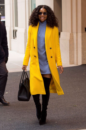 thebudgetbabe blogger dress coat shoes sweater bag sunglasses fall outfits yellow coat sweater dress boots over the knee boots handbag
