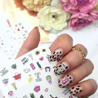 home accessory yeah bunny nails stickers cute pastel girly plants red bag cactus flowers sunflower heart celine bag