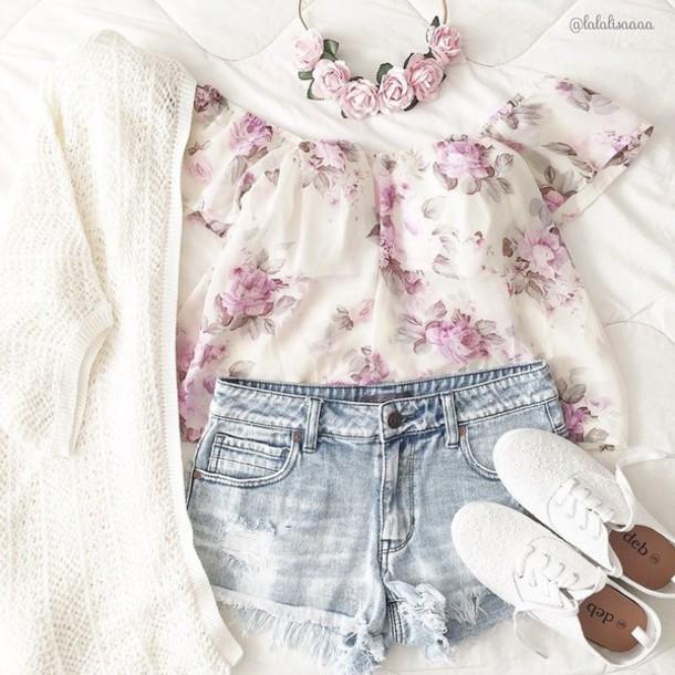 t-shirt shirt shoulderless shoulderless top floral white shirt top floral purple vintage