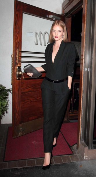 jumpsuit pants pumps all black everything rosie huntington-whiteley model off-duty fall outfits plunge v neck isabel marant
