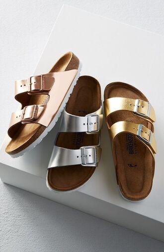 shoes slide shoes metallic slides gold shoes silver shoes silver gold metallic metallic shoes summer shoes summer accessories