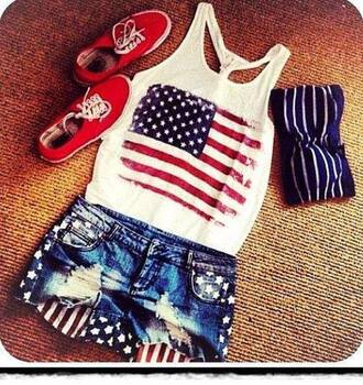 tank top white shirt vans american flag shirt summer outfits summer shorts