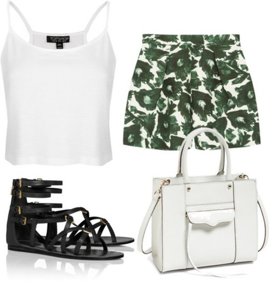 topshop shorts bag sandals floral shorts tank top