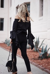 top,tumblr,black top,off the shoulder,off the shoulder top,bell sleeves,denim,jeans,black jeans,all black everything,bag,black bag,pants