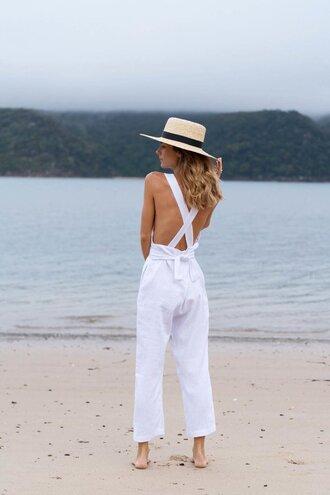 jumpsuit hat tumblr white jumpsuit open back backless sun hat