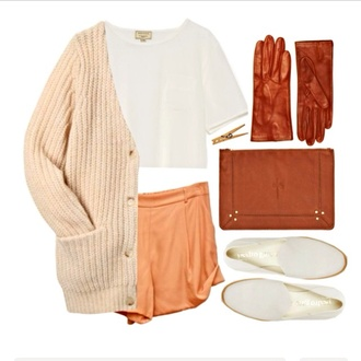 sweater gloves white tank top white pink peach high waisted short sweatshirt flannel sweatshirt bag leather beautiful pretty nice blouse shoes shorts jewels rust