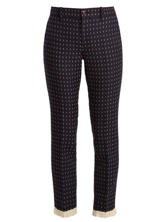 embroidered geometric wool navy pants