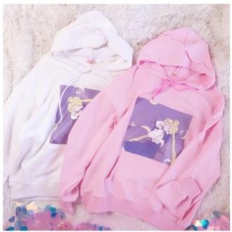 sweater sailor moon girly white pink sweatshirt hoodie cute tumblr