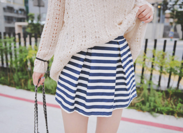 skirt blue white stripes cute
