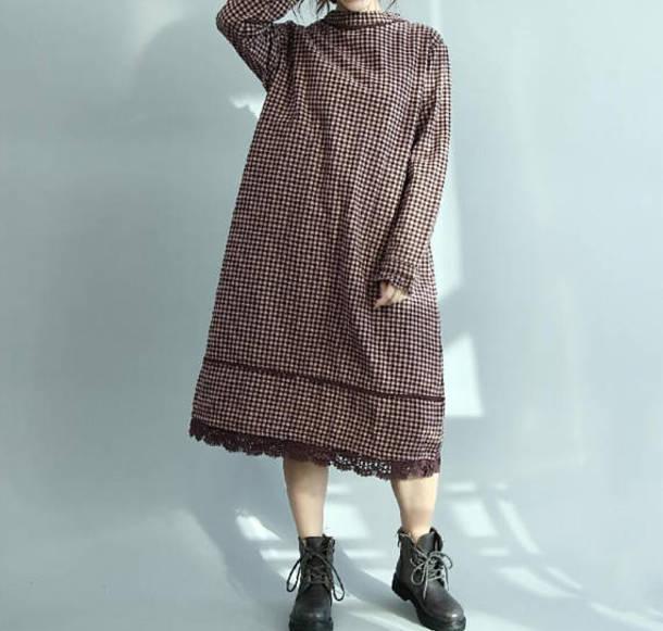 dress round collar plaid dress