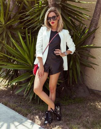 romper ashley tisdale jacket white black summer outfits sunglasses clutch sneakers