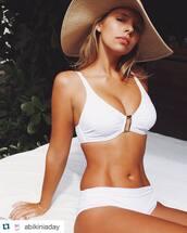 swimwear,swimwear two piece,white swimwear,melissa odabash bikini,bikini,white bikini,hat