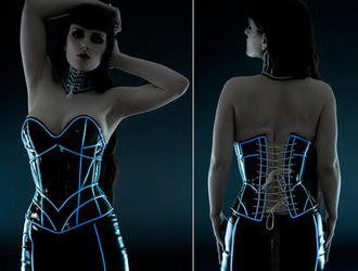 top goth cyber-goth cyber goth glow in the dark corset corset