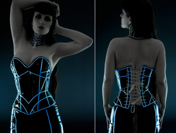 corset top goth cyber-goth cyber goth glow in the dark corset