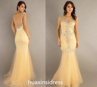 Stunning see through yellow mermaid homecoming dress for prom