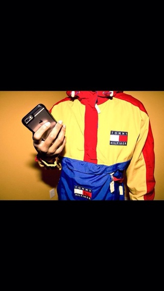 coat tommy hilfiger windbreaker yellow red and blue